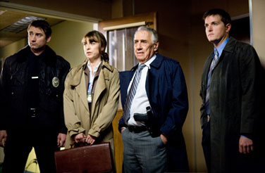 Rebecca Pidgeon L to R: Jamison Jones as Officer Bittner,  as Dr. Jessica Westmin, Philip Baker Hall as Captain Smith and Paul Joyner as Detective in David Ondaatje mystery thriller 'The Lodger.'