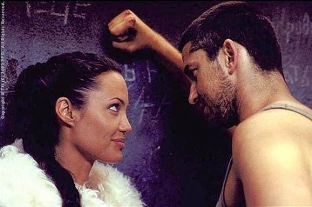 Lara Croft Angelina Jolie and Gerard Butler in Paramount's  Tomb Raider: The Cradle of Life - 2003