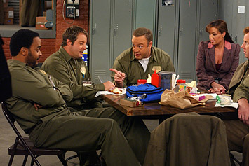 Patton Oswalt Victor Williams,  and Kevin James on the scene of CBS Television 'The King of Queens
