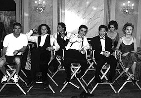Joey Donner Director Gil Junger (left) poses with his cast, including (left to right) Heath Ledger, Andrew Keegan, David Krumholtz, Joseph Gordon-Levitt, Susan May Pratt, and Julia Stiles in 10 Things I Hate About You