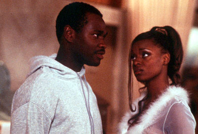 N'Bushe Wright Brian Hooks as Rob Douglas and N'Bushe Wright as his not-so-trusting girlfriend Juanita in MGM's 3 Strikes - 2000