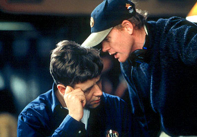 A Beautiful Mind Russell Crowe and director Ron Howard on the set ofUniversal's  - 2001