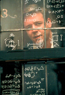 A Beautiful Mind Russell Crowe as mathematical genius John Forbes Nash Jr. in Universal's  - 2001
