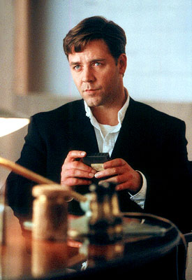 A Beautiful Mind Russell Crowe as John Forbes Nash Jr. working as a codebreaker in Universal's  - 2001