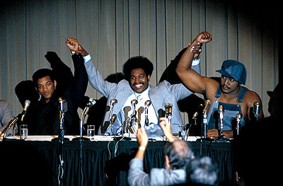 Mykelti Williamson Will Smith as Muhammad Ali,  as Don King and Charles Shufford as George Foreman in Columbia's Ali - 2001