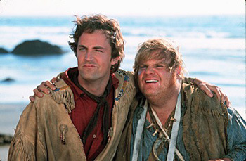 Chris Farley Matthew Perry and  in Warner Brothers' Almost Heroes - 1998