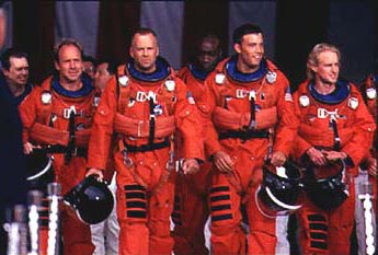 Steve Buscemi , Will Patton, Bruce Willis, Michael Clarke Duncan, Ben Affleck and Owen Wilson in Touchstone's Armageddon - 1998
