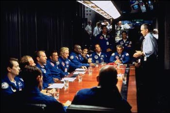 Steve Buscemi , Bruce Willis, Ben Affleck, Owen Wilson, Michael Clarke Duncan,Clark Brolly, William Fichtner, Anthony Guidera, Marshall Teague, Jessica Steen and Billy Bob Thornton in Touchstone's Armageddon - 1998
