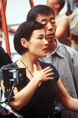 Director Joan Chen and Director of Photography Changwei Gu on the set of MGM's Autumn In New York - 2000