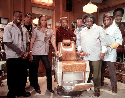 Eve Sean Patrick Thomas, Michael Ealy, , Ice Cube, Troy Garity, Cedric The Entertainer and Leonard Earl Howze in MGM's Barbershop - 2002
