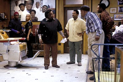 Eve Leonard Earl Howze, , Cedric The Entertainer, Ice Cube, Carl Wright and Sean Patrick Thomas in MGM's Barbershop - 2002