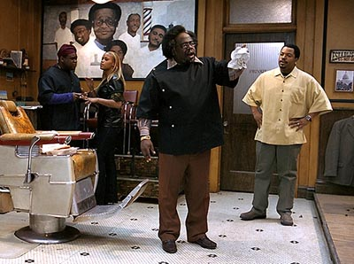 Eve Leonard Earl Howze, , Cedric The Entertainer and Ice Cube in MGM's Barbershop - 2002