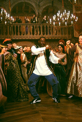 Martin Lawrence  as Jamal, a fast-talking con-man who finds himself teaching some new moves to eager-to-learn nobles in 14th century England in 20th Century Fox's Black Knight - 2001