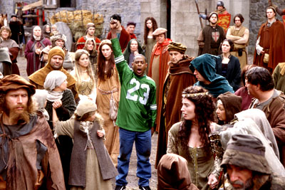 Martin Lawrence  as Jamal, a fast-talking con-man who finds himself sticking out in a crowd of medieval peasants in 14th century England in 20th Century Fox's Black Knight - 2001