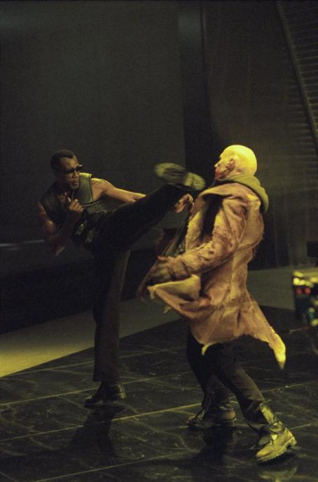 Wesley Snipes  as Blade and Luke Goss as Nomak in New Line's Blade II - 2002