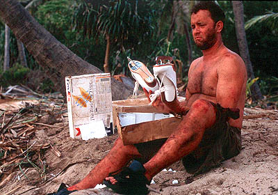 Cast Away Chuck (Tom Hanks) is a problem-solver that finds a novel use for the contents of a FedEx box that washes ashore in 20th Century Fox's  - 2000
