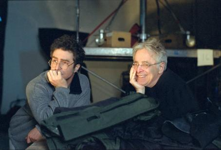 Confessions of a Dangerous Mind Sam Rockwell and Chuck Barris on the set of Miramax's  - 2002