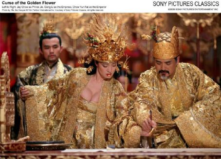 Curse of the Golden Flower Left to Right: Jay Chow as Prince Jie, Gong Li as the Empress, Chow Yun Fat as the Emperor. Photo by: Ms. Bai Xiaoyan © Film Partner International Inc. Courtesy of Sony Pictures Classics, all right reserved.