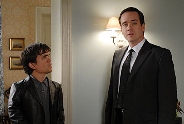 Matthew Macfadyen Peter Dinklage and  play as Peter and Daniel in Death at a Funeral