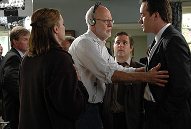 Matthew Macfadyen Frank Oz and  on the set of Death at a Funeral