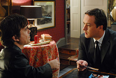 Matthew Macfadyen Peter Dinklage and  in the scene of Death at a Funeral