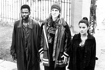 Chris Rock , Jason Mewes and Salma Hayek in Lions Gate's Dogma - 11/99