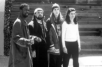 Kevin Smith Chris Rock, , Jason Mewes and Linda Fiorentino in Lions Gate's Dogma - 11/99