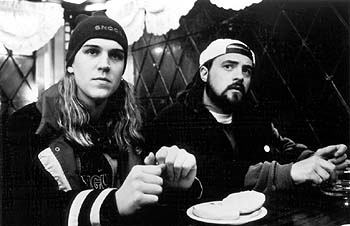 Kevin Smith Jason Mewes and  in Lions Gate's Dogma - 11/99