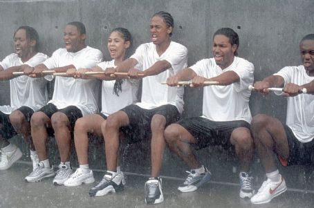 Candace Carey  (2nd from left) and Nick Cannon (3rd from left) are freshmen trying to get a spot on the marching band drumline in 20th Century Fox's Drumline - 2002