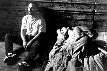 David Fincher Director  and Edward Norton on the set of Fight Club - 10/99