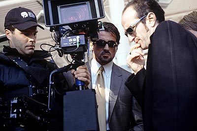 Stephen Kay Sylvester Stallone and director  on the set of Warner Brothers' Get Carter - 2000