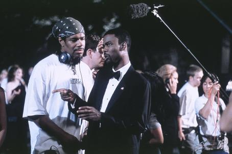 Chris Rock Co-screenwriter Ali Leroi with director/co-screenwriter/star  on the set of DreamWorks' Head of State - 2003