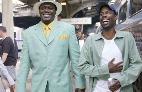 Chris Rock Director, producer, co-writer and star  (right) shares a laugh with star Bernie Mac (left)