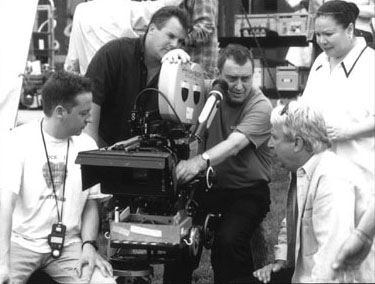 High Fidelity Director of Photography Seamus McGarvey and director Stephen Frears on the set of Touchstone's  - 2000