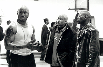 Hill Harper LL Cool J,  and Omar Epps in In Too Deep - 8/99