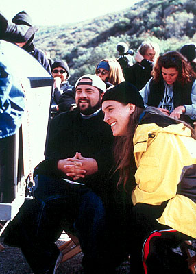 Kevin Smith  and Jason Mewes on the set of Dimension's Jay and Silent Bob Strike Back - 2001
