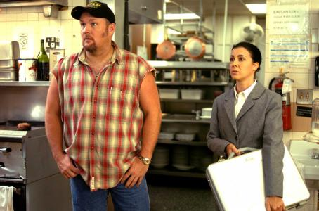 Iris Bahr Larry (Larry the Cable Guy) and Amy Butlin () in Larry The Cable Guy:  Health Inspector. Photo credit: Jon Barron Farmer