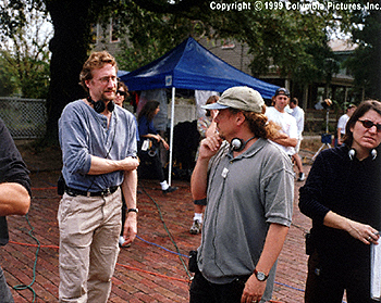 Brian Henson Producer  and Director Tim Hill on the set of Muppets From Space