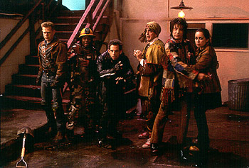 Kel Mitchell William H. Macy, , Ben Stiller, Hank Azaria, Paul Reubens and Janeane Garofalo are cornered by The Disco Boys in Universal's Mystery Men - 1999