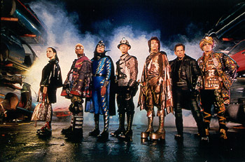 Kel Mitchell Janeane Garofalo, , Wes Studi, William H. Macy, Paul Reubens, Ben Stiller and Hank Azaria are the Universal's Mystery Men - 1999