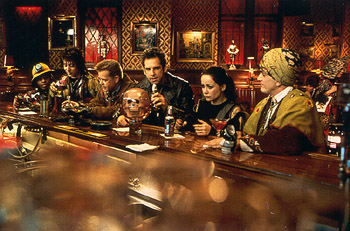 Kel Mitchell , Paul Reubens, William H. Macy, Ben Stiller, Janeane Garofalo and Hank Azaria celebrate their first victory in Universal's Mystery Men - 1999