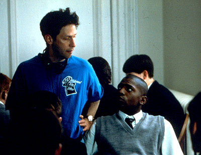 Tim Blake Nelson Director  and Mekhi Phifer on the set of Lions Gate's O - 2001