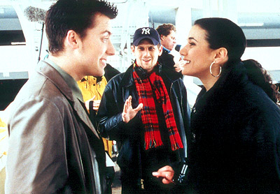 On the Line Lance Bass, director Eric Bross and Emmanuelle Chriqui on the set of Miramax's On The Line - 2001