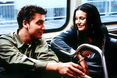On the Line Lance Bass and Emmanuelle Chriqui in Miramax's On The Line - 2001