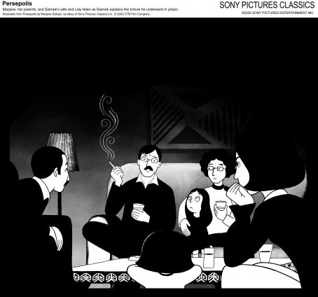 Persepolis Marjane, her parents, and Siamek's wife and Laly listen as Siamek explains the torture he underwent in prison. Illustration from  by Marjane Satrapi, courtesy of Sony Pictures Classics Inc. © 2002 Film Company.