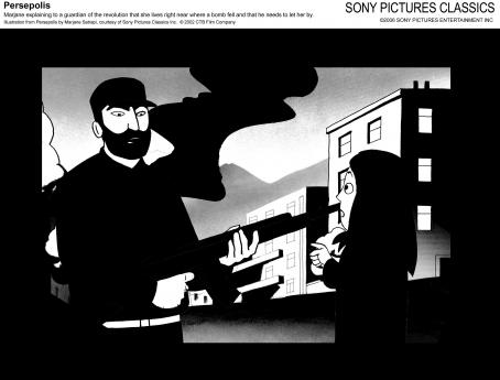 Persepolis Marjane explaining to a guardian of the revolution that she live right near where a bomb fell and that he needs to let her by. Illustration from  by Marjane Satrapi, courtesy of Sony Pictures Classics Inc. © 2002 Film Company.