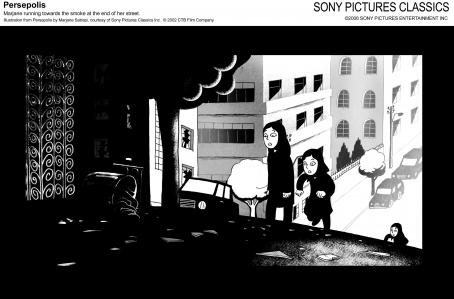Persepolis Marjane running toward the smoke at the end of her street. Illustration from  by Marjane Satrapi, courtesy of Sony Pictures Classics Inc. © 2002 Film Company.