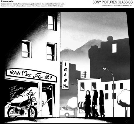 Persepolis Marjane and two friends, Tina and Anousha, go to Mc-Rani - the McDonal's of the third world. Illustration from  by Marjane Satrapi, courtesy of Sony Pictures Classics Inc. © 2002 Film Company.