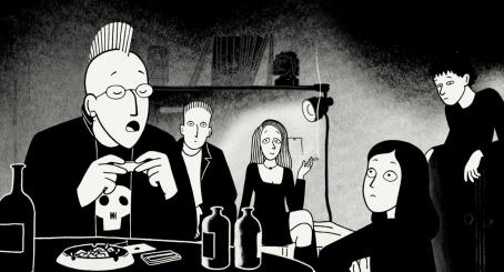 Persepolis Marjane with friends in Vienna. Illustration from  by Marjane Satrapi, and Vincent Paronnaud/ courtesy of Sony Pictures Classics Inc.  © 2007/ 2.4.7. Films.  All Rights Reserved.