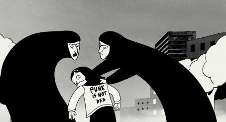 Persepolis Marjane with two guardians of the revolution. Illustration from  by Marjane Satrapi, and Vincent Paronnaud/ courtesy of Sony Pictures Classics Inc.  © 2007/ 2.4.7. Films.  All Rights Reserved.